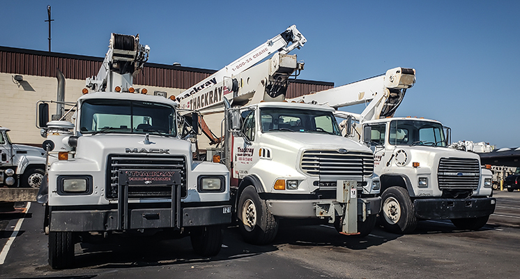 Thackray Crane Boom Trucks Line up